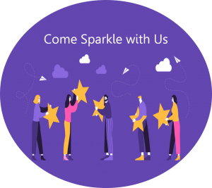 contact us and come sparkle with us image of cartoon people with yellow stars